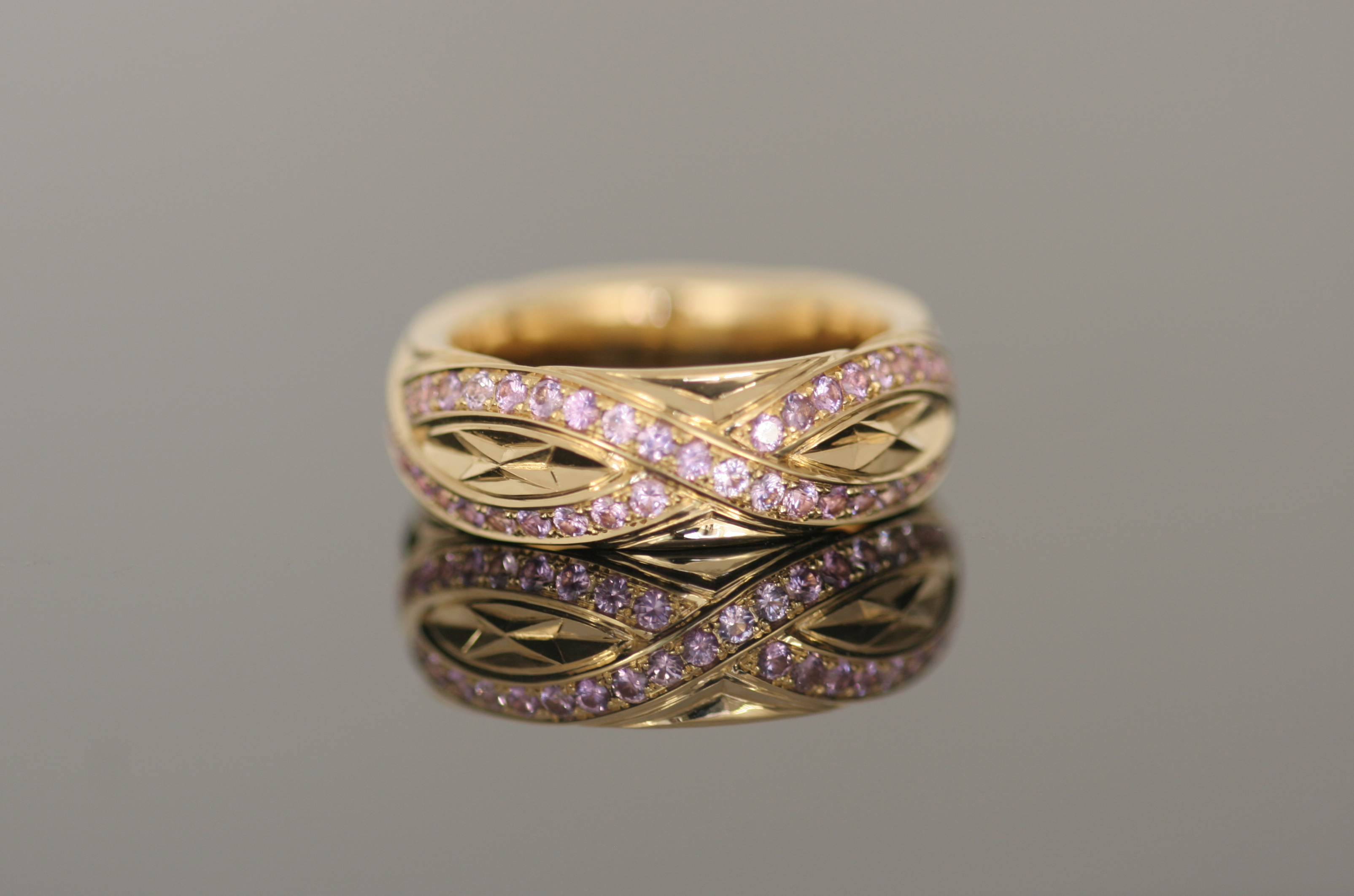 Ring, Rosegold, Saphire